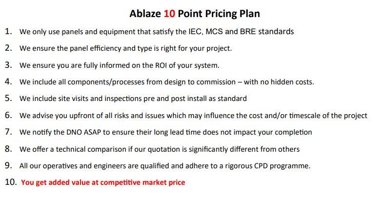 Solar Panel 10 Point Pricing Plan